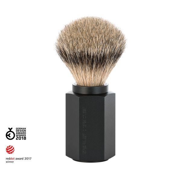 """MÜHLE Blaireau pur-argenté """"HEXAGON"""" 21mm - aluminium/graphite"""